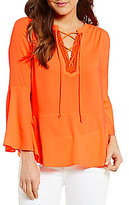 Gibson & Latimer Lace-Up Front Bell Sleeve Blouse