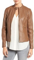 Via Spiga Women's Leather & Ponte Band Collar Jacket