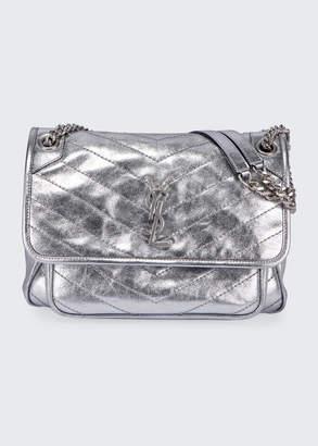 Saint Laurent Niki Medium Vintage Calfskin Flap-Top Shoulder Bag