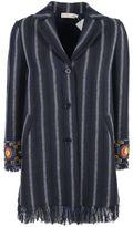 Tory Burch Embellished Striped Coat