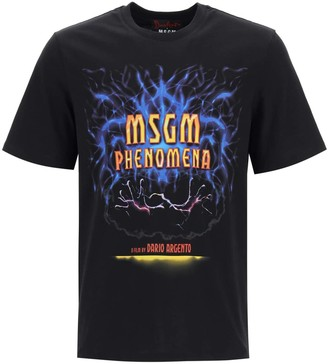 MSGM HORROR PRINT T-SHIRT L Black, Yellow, Red Cotton