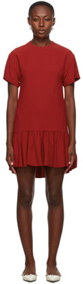RED Valentino Red Satin Ruffle T-Shirt Dress