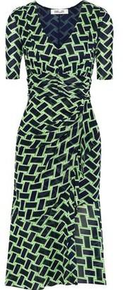 Diane von Furstenberg Farrell Wrap-effect Printed Stretch-mesh Dress