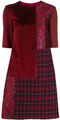 Talbot Runhof Patchwork Short Dress
