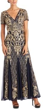 R & M Richards Sequined Godet Gown