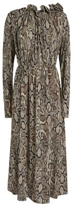 Magda Butrym Snakeskin Print Scoop-Back Dress