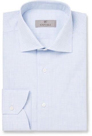 Canali Light-Blue Cutaway-Collar Checked Cotton Shirt