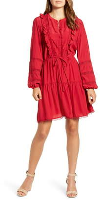 Lucky Brand Lace Detail Long Sleeve Crepe Dress