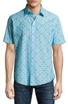 Zachary Prell Cobb Foliage-Print Sport Shirt, Turquoise