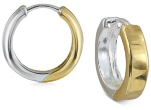 Argentovivo Small Two-Tone Square Edge Hoop Earrings in Sterling Silver & 18k Gold-Plate, 0.6""