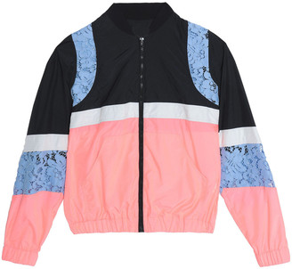 MSGM Giupure Lace-paneled Color-block Shell Jacket