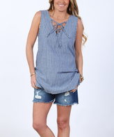 Blue & White Pinstripe Lace-Up Top