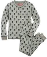 PJ Salvage Girls' Skull-Print Thermal Pajama Shirt & Pants Set