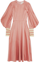 Roksanda Hillevi Hammered Silk-satin Midi Dress - Antique rose