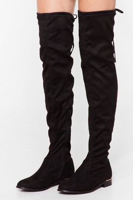 Nasty Gal Womens It Ain't Over-the-Knee Faux Suede Boots - Black - 3