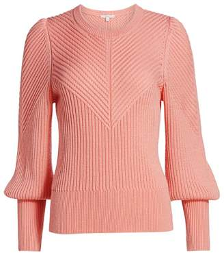 Joie Ronita Puff-Sleeve Ribbed Sweater