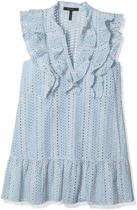 BCBGMAXAZRIA Azria Women's Alica Woven Ruffle Placket Dress