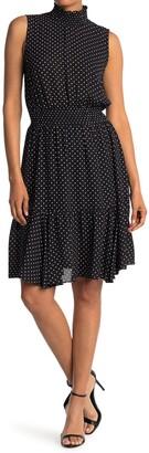 Nanette Lepore Polka Dot Sleeveless Smock Neck & Waist Dress