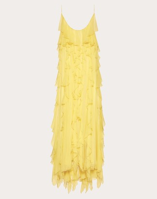 Valentino Chiffon Evening Dress With Ruffles Women Yellow Silk 100% 42
