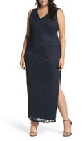 Marina Plus Size Women's Cutout Back Lace Empire Gown