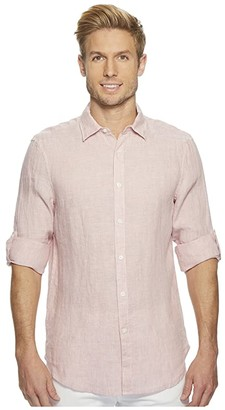 Perry Ellis Solid Linen Roll Sleeve Shirt (Himalayan Pink) Men's Clothing