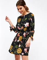 Girls On Film Floral Print Tie Sleeve Skater Dress