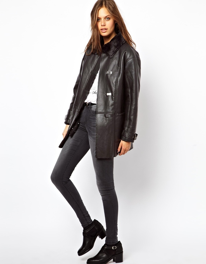 Asos Shearling Coat With Buckle Front