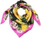 Dolce & Gabbana Sunflower & Chains Printed Silk Scarf