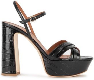 Malone Souliers Mila 125 Crocodile-effect Platform Sandals