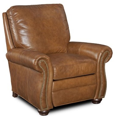 """Thumbnail for your product : Bradington-Young 38"""" Wide Genuine Leather Power Standard Recliner Body Fabric: Aspen Lenado, Leg Color: Plantation, Nailhead Detail: French Natural"""