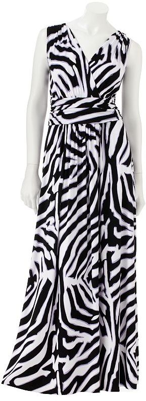 JLO by Jennifer Lopez zebra surplice maxi dress