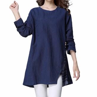 Toamen Women's Tops Womens Tops Toamen Casual Clothes Sale O Neck Linen Button Long Sleeve Loose Pullover Shirt BlouseNavy 20
