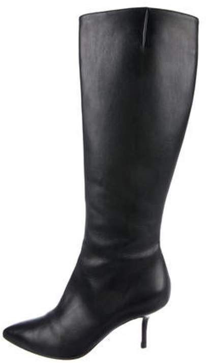 7b7482b155e Leather Knee-High Boots Black Leather Knee-High Boots