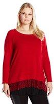 Karen Kane Women's Plus Size Lace Inset Sweater