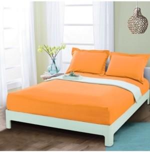 Elegant Comfort Silky Soft Single Fitted Sheet Queen Elite Orange Bedding