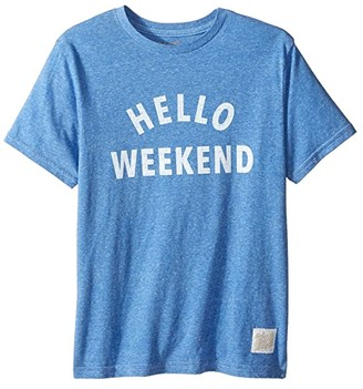 The Original Retro Brand Kids Hello Weekend White Print Short Sleeve Tee (Big Kids) (Streaky Royal) Boy's T Shirt