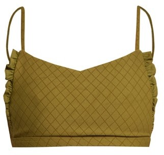 Made by Dawn Petal Ruffle Scoop Neck Bikini Top - Womens - Green
