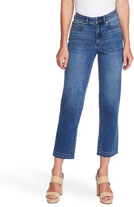 Vince Camuto Women's Denim Pants and Jeans SPECTRUM - Spectrum Blue Studded High-Waist Crop Jeans - Women