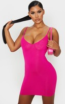 Apparelt Hot Pink Basic Extreme Plunge Strappy Bodycon Dress