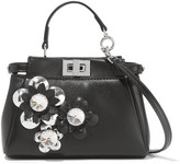 Fendi Peekaboo Micro Appliquéd Leather Shoulder Bag - Black