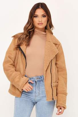 I SAW IT FIRST Tan Suede Borg Aviator Jacket