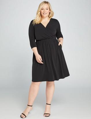 Lane Bryant Faux-Wrap Fit & Flare Dress