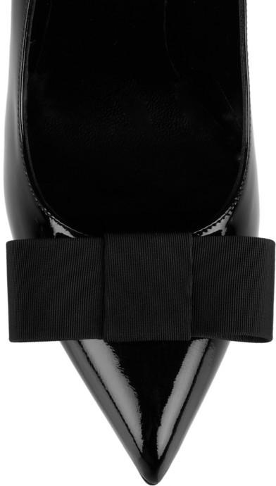 Saint Laurent Bow-embellished patent-leather pumps