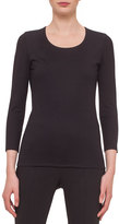 Akris Fitted 3/4-Sleeve Stretch-Jersey Top, Black
