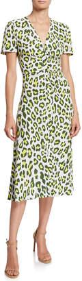 Diane von Furstenberg Cecilia Leopard-Print Button-Front Midi Dress