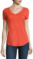 STYLUS Stylus Short Sleeve V Neck T-Shirt-Womens