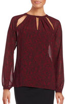 MICHAEL Michael Kors Plus Lace Print Long Sleeve Blouse