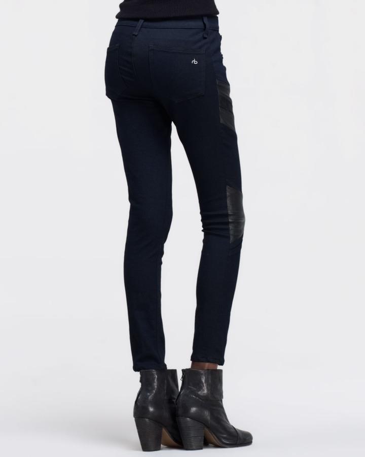 Rag and Bone Halifax Leather-Panel Motocross Jeans, Midnight