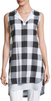 Misook Sleeveless Gingham Layered Shirt, Petite