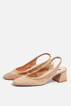 Topshop Womens Jelly Leather Sling Low Back Heels - Nude